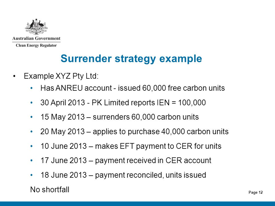 Page 12 Surrender strategy example Example XYZ Pty Ltd: Has ANREU account - issued 60,000 free carbon units 30 April 2013 - PK Limited reports IEN = 1