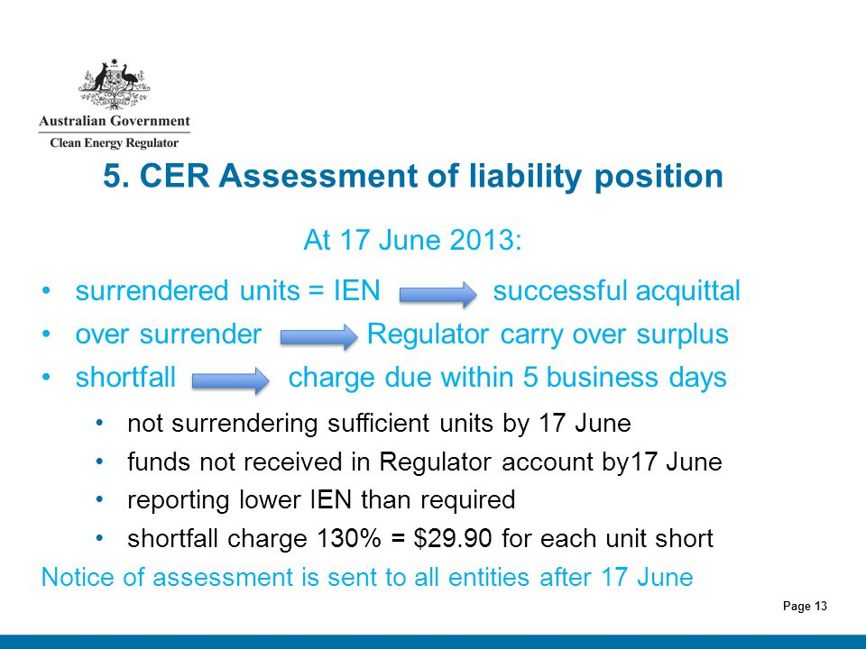 Page 13 5. CER Assessment of liability position At 17 June 2013: surrendered units = IEN successful acquittal over surrender Regulator carry over surp