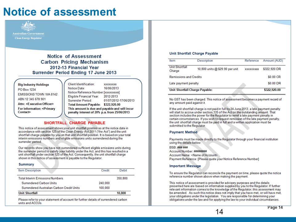 Page 14 Notice of assessment 14