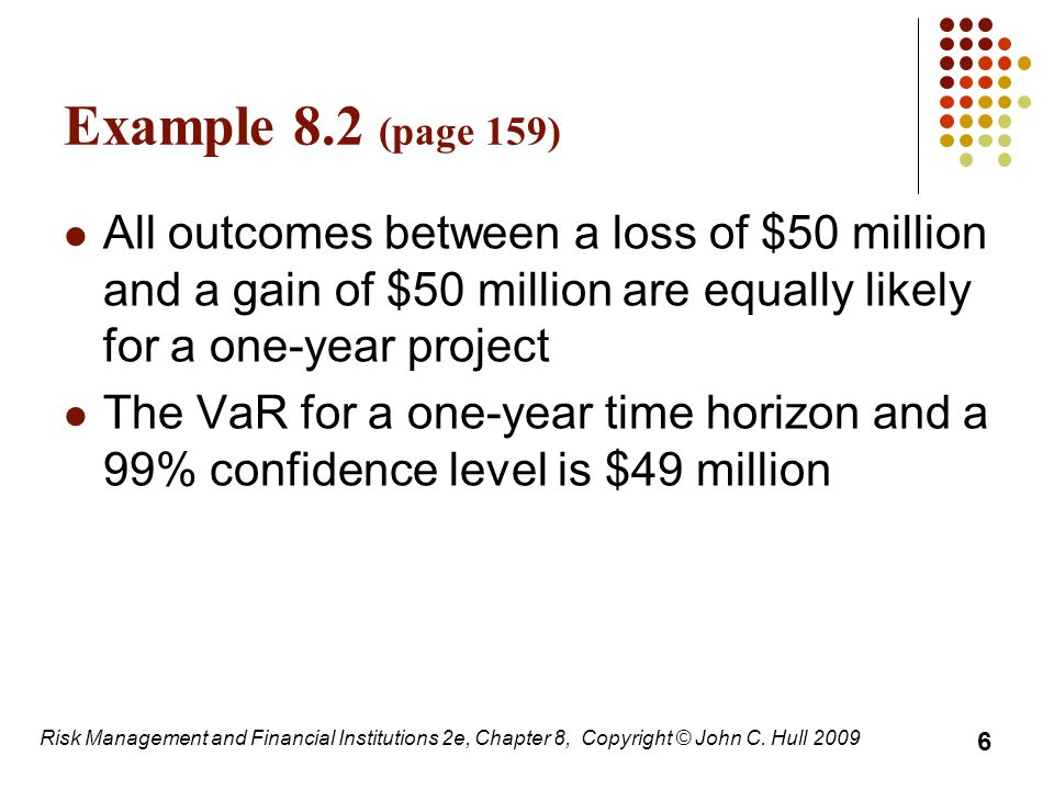 Examples 8.3 and 8.4 (page 160 ) A one-year project has a 98% chance of leading to a gain of $2 million, a 1.5% chance of a loss of $4 million, and a 0.5% chance of a loss of $10 million The VaR with a 99% confidence level is $4 million What if the confidence level is 99.9%.