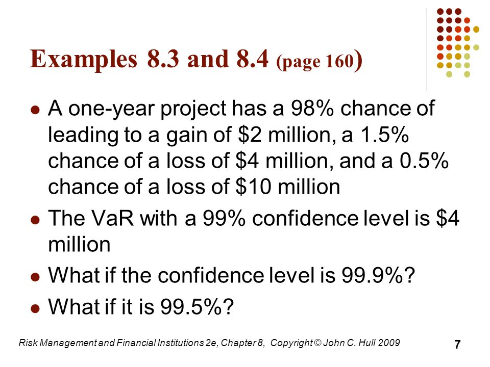 Impact of Autocorrelation: Ratio of N-day VaR to 1-day VaR (Table 8.1, page 204) Risk Management and Financial Institutions 2e, Chapter 8, Copyright © John C.