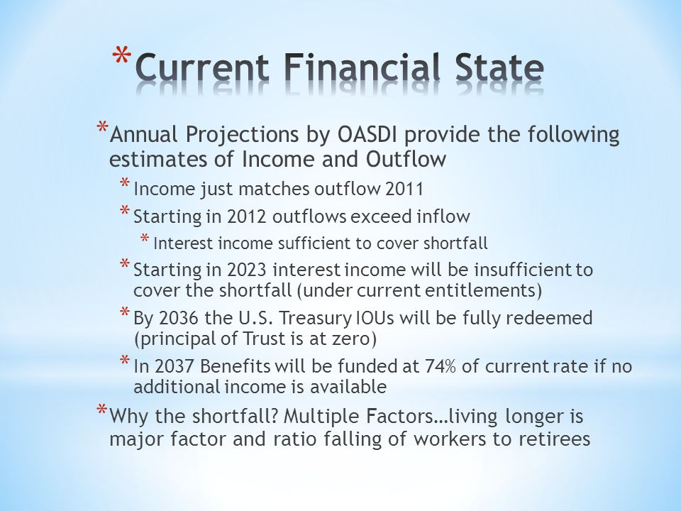 * Annual Projections by OASDI provide the following estimates of Income and Outflow * Income just matches outflow 2011 * Starting in 2012 outflows exc