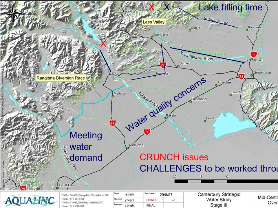 CRUNCH issues CHALLENGES to be worked through X XXLake filling time Water quality concerns Meeting water demand