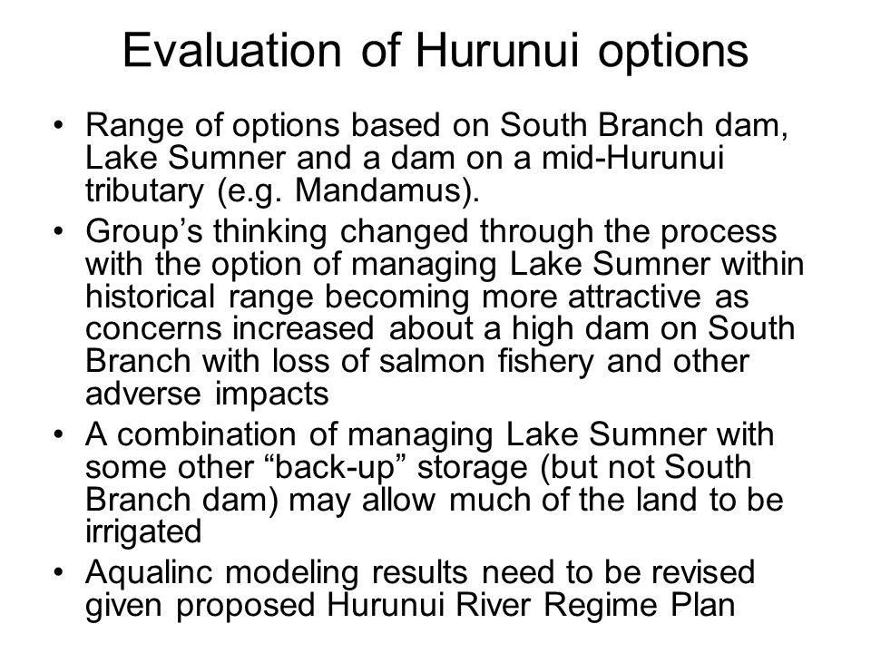 Evaluation of Hurunui options Range of options based on South Branch dam, Lake Sumner and a dam on a mid-Hurunui tributary (e.g. Mandamus). Group's th