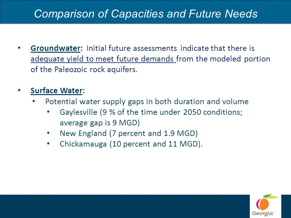 Comparison of Capacities and Future Needs Groundwater: Initial future assessments indicate that there is adequate yield to meet future demands from the modeled portion of the Paleozoic rock aquifers.