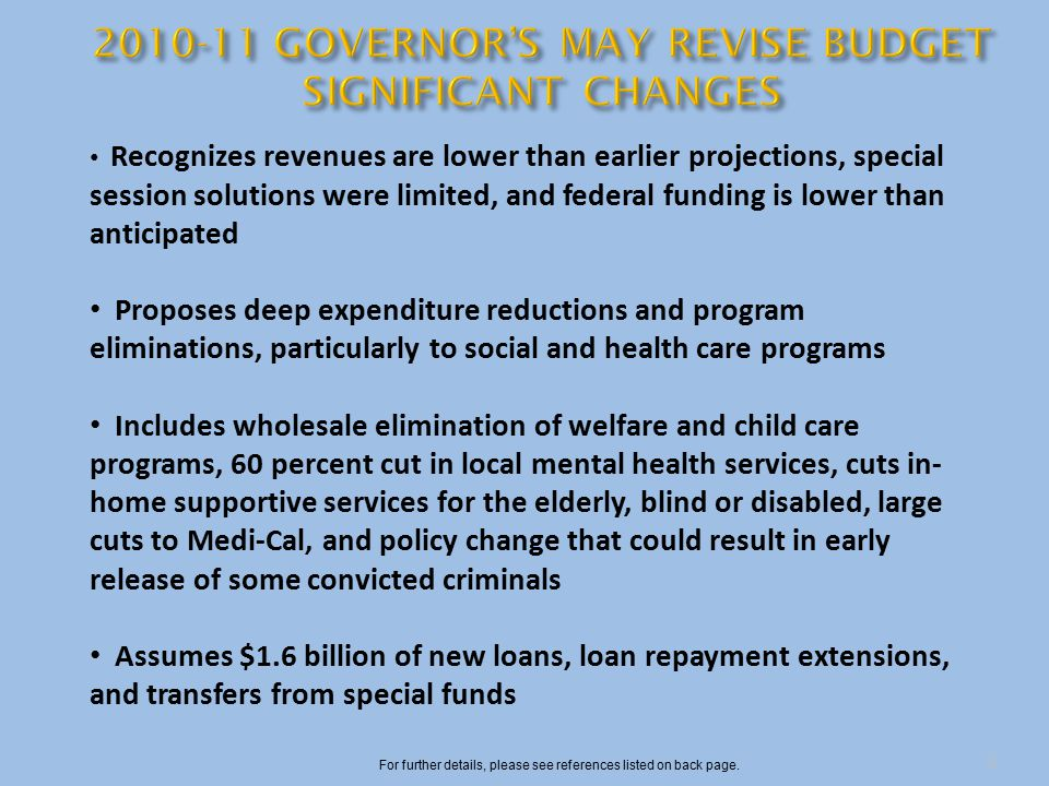 Recognizes revenues are lower than earlier projections, special session solutions were limited, and federal funding is lower than anticipated Proposes