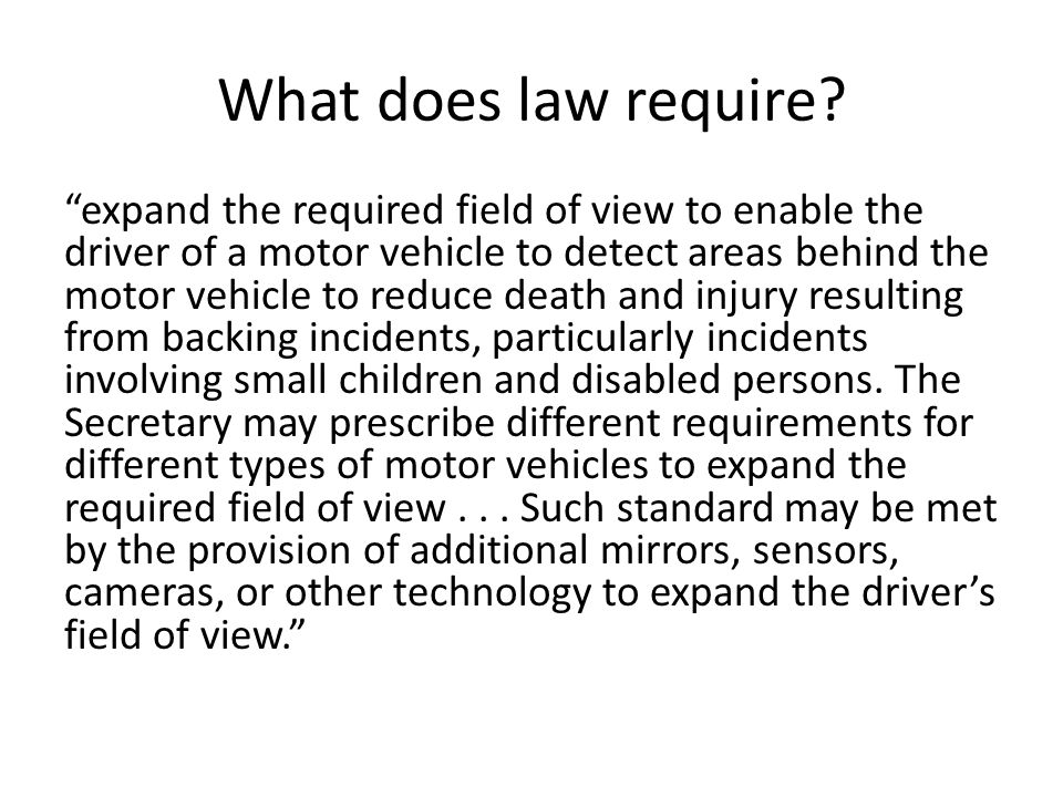 What does law require.
