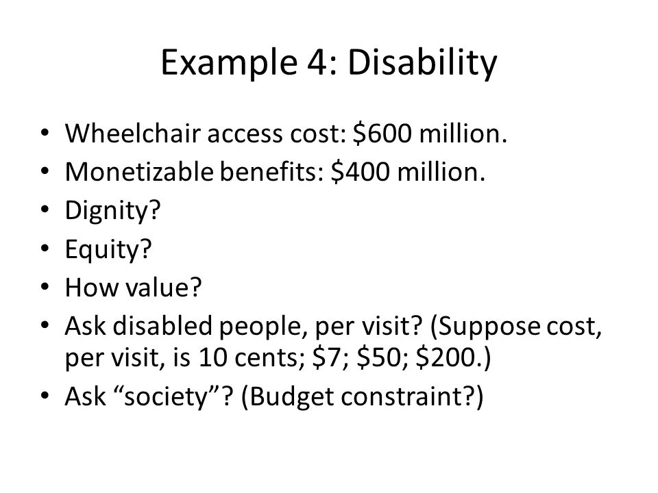 Example 4: Disability Wheelchair access cost: $600 million.