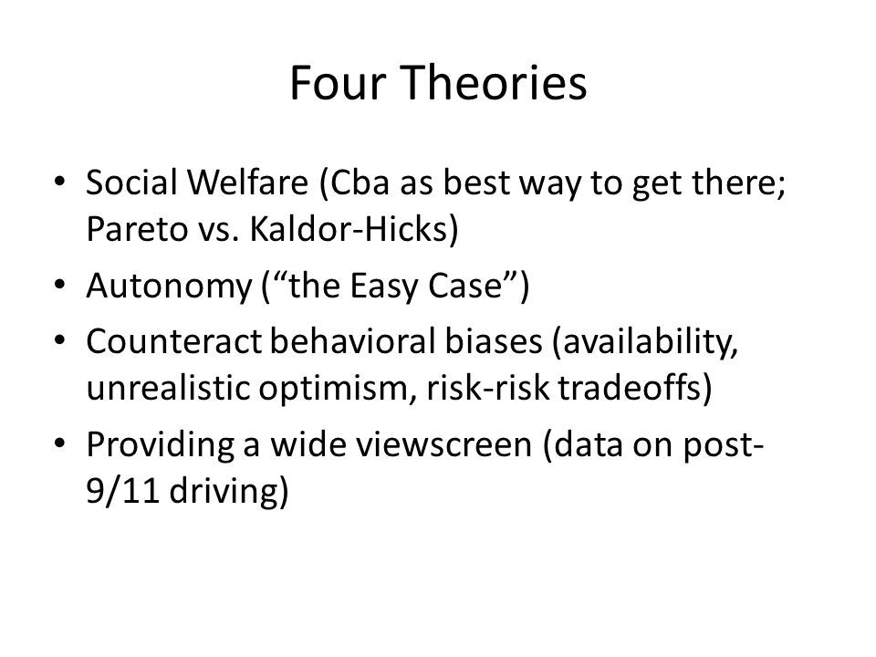 Four Theories Social Welfare (Cba as best way to get there; Pareto vs.