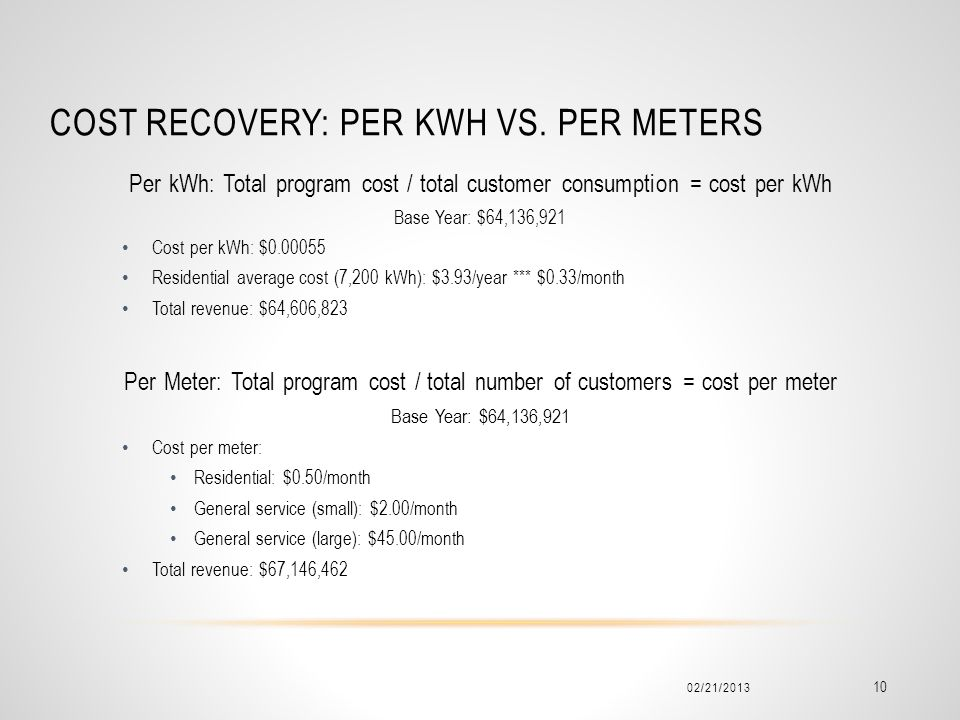 COST RECOVERY: PER KWH VS.