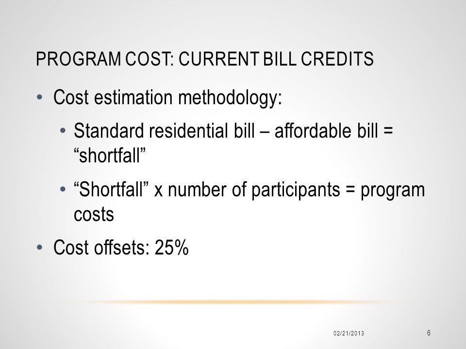 PROGRAM COST: CURRENT BILL CREDITS Cost estimation methodology: Standard residential bill – affordable bill = shortfall Shortfall x number of participants = program costs Cost offsets: 25% 02/21/2013 6