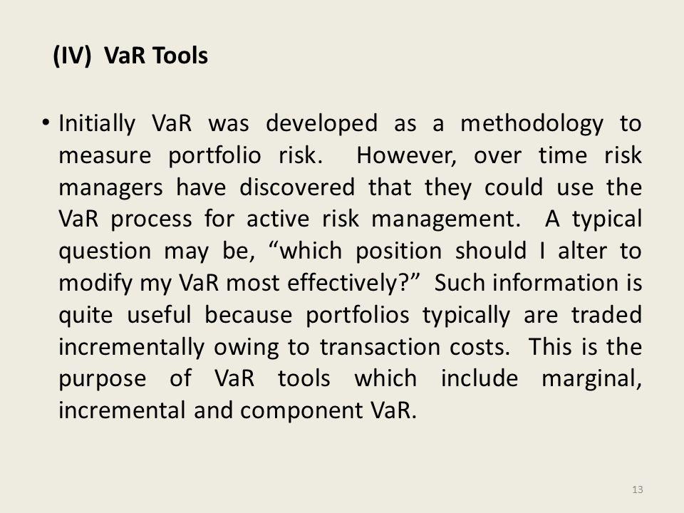 (IV) VaR Tools Initially VaR was developed as a methodology to measure portfolio risk.