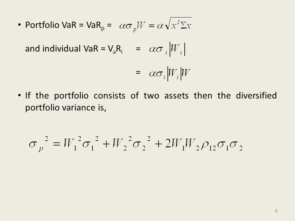 Portfolio VaR = VaR p = and individual VaR = V a R i = = If the portfolio consists of two assets then the diversified portfolio variance is, 8
