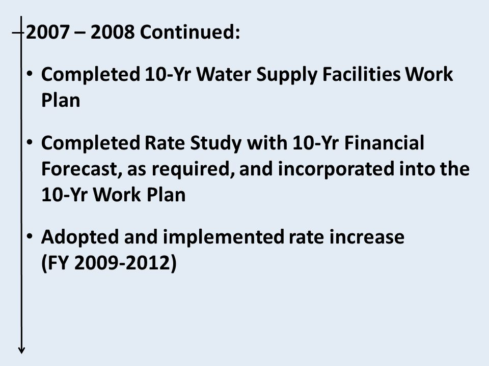 2007 – 2008 Continued: Completed 10-Yr Water Supply Facilities Work Plan Completed Rate Study with 10-Yr Financial Forecast, as required, and incorporated into the 10-Yr Work Plan Adopted and implemented rate increase (FY 2009-2012)