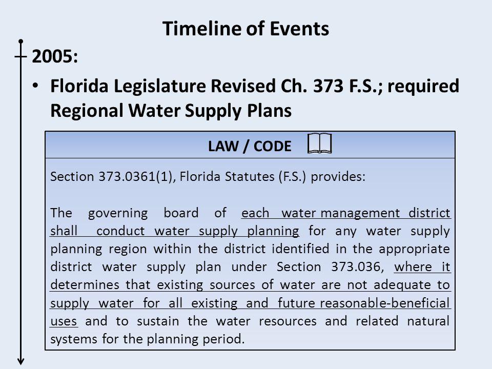 Timeline of Events 2005: Florida Legislature Revised Ch.
