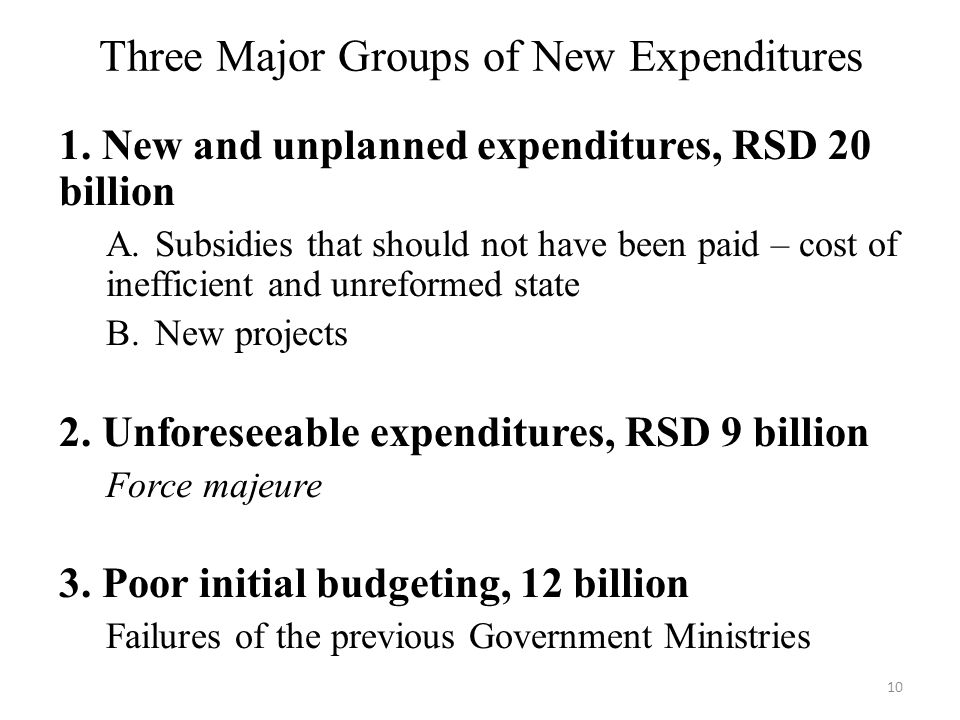 Three Major Groups of New Expenditures 1. New and unplanned expenditures, RSD 20 billion А.