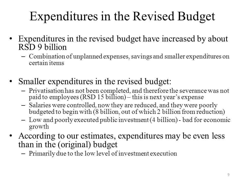 Three Major Groups of New Expenditures 1.New and unplanned expenditures, RSD 20 billion А.