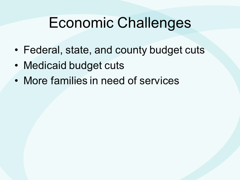 Economic Challenges Federal, state, and county budget cuts Medicaid budget cuts More families in need of services
