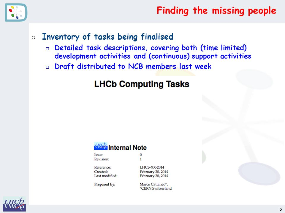 Finding the missing people m Inventory of tasks being finalised o Detailed task descriptions, covering both (time limited) development activities and (continuous) support activities o Draft distributed to NCB members last week 5
