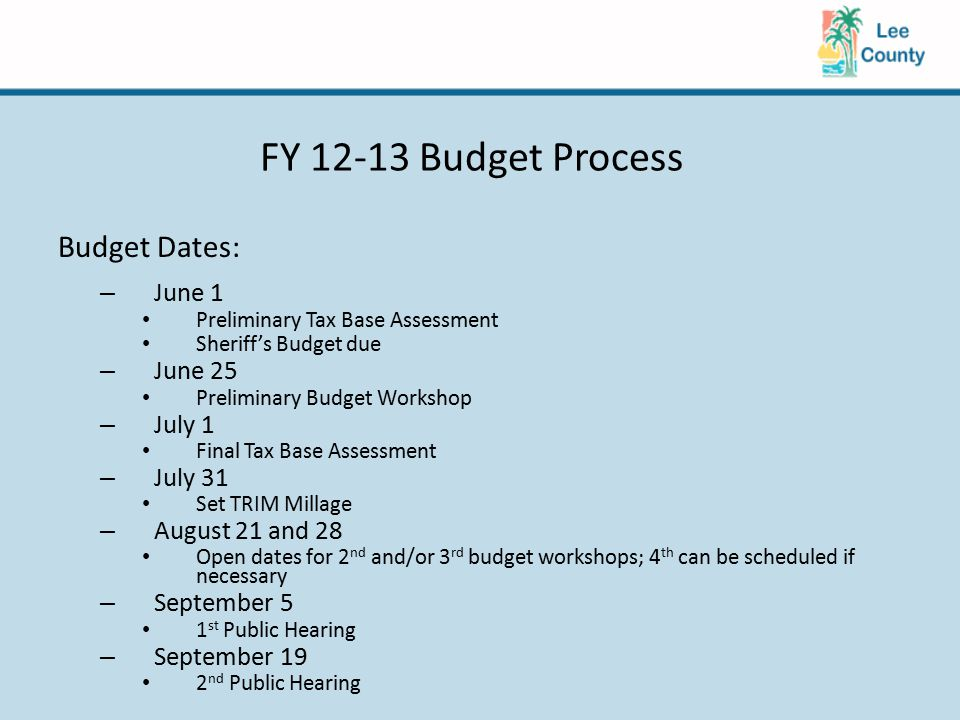 FY 12-13 Budget Process Budget Dates: – June 1 Preliminary Tax Base Assessment Sheriff's Budget due – June 25 Preliminary Budget Workshop – July 1 Final Tax Base Assessment – July 31 Set TRIM Millage – August 21 and 28 Open dates for 2 nd and/or 3 rd budget workshops; 4 th can be scheduled if necessary – September 5 1 st Public Hearing – September 19 2 nd Public Hearing