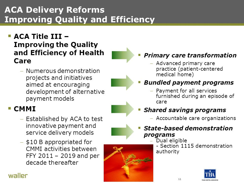 ACA Delivery Reforms Improving Quality and Efficiency  ACA Title III – Improving the Quality and Efficiency of Health Care – Numerous demonstration projects and initiatives aimed at encouraging development of alternative payment models  CMMI – Established by ACA to test innovative payment and service delivery models – $10 B appropriated for CMMI activities between FFY 2011 – 2019 and per decade thereafter  Primary care transformation – Advanced primary care practice (patient-centered medical home)  Bundled payment programs – Payment for all services furnished during an episode of care  Shared savings programs – Accountable care organizations  State-based demonstration programs – Dual eligible – - Section 1115 demonstration authority 11