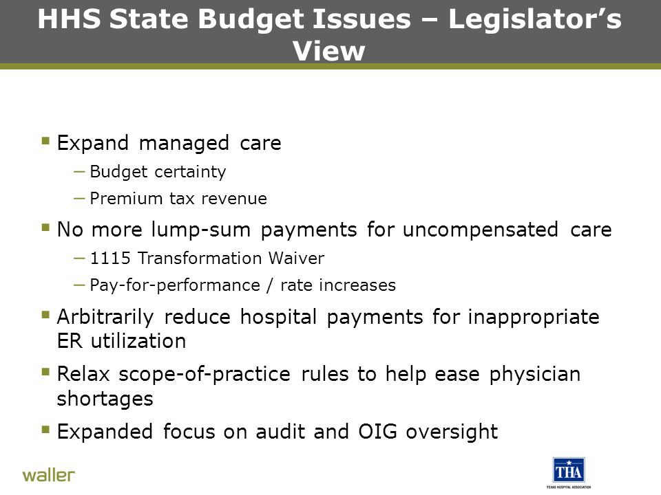 HHS State Budget Issues – Legislator's View  Expand managed care – Budget certainty – Premium tax revenue  No more lump-sum payments for uncompensated care – 1115 Transformation Waiver – Pay-for-performance / rate increases  Arbitrarily reduce hospital payments for inappropriate ER utilization  Relax scope-of-practice rules to help ease physician shortages  Expanded focus on audit and OIG oversight