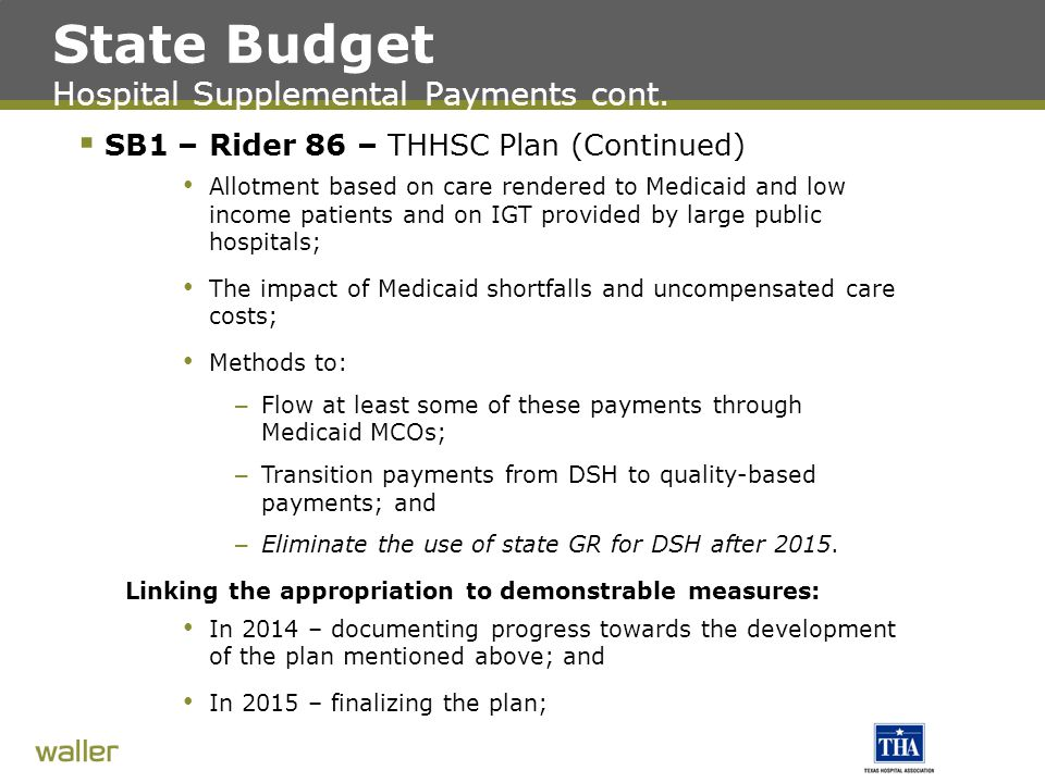 State Budget Hospital Supplemental Payments cont.
