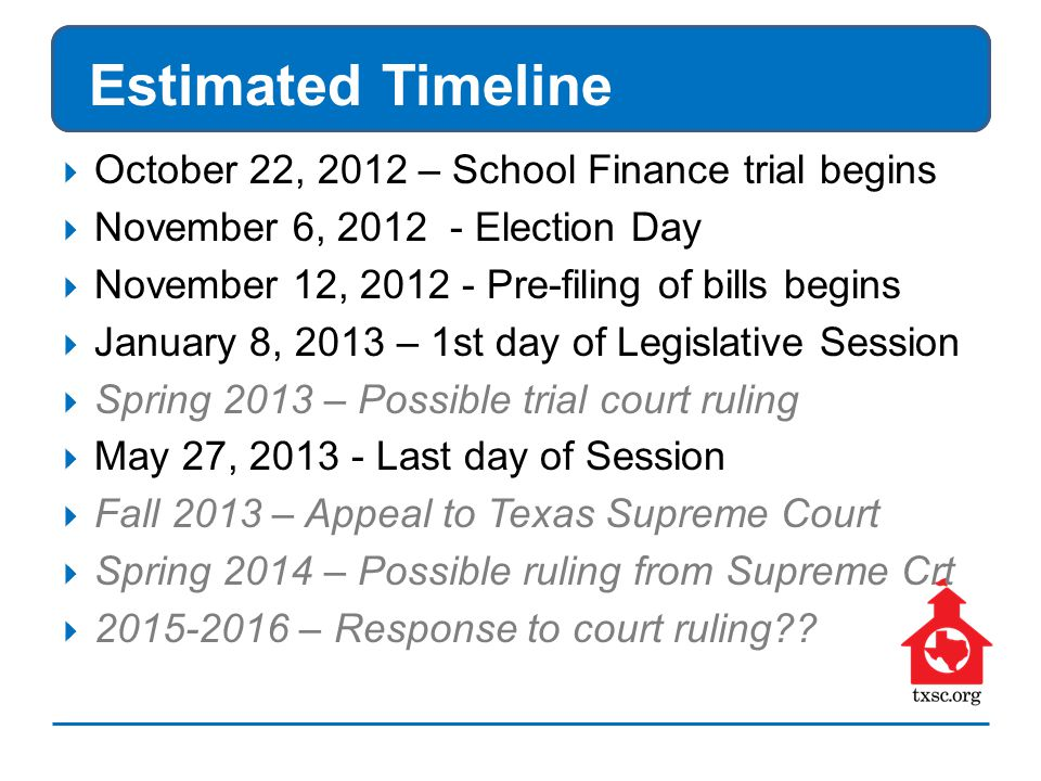 Estimated Timeline  October 22, 2012 – School Finance trial begins  November 6, 2012 - Election Day  November 12, 2012 - Pre-filing of bills begins  January 8, 2013 – 1st day of Legislative Session  Spring 2013 – Possible trial court ruling  May 27, 2013 - Last day of Session  Fall 2013 – Appeal to Texas Supreme Court  Spring 2014 – Possible ruling from Supreme Crt  2015-2016 – Response to court ruling