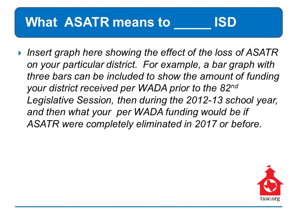 What ASATR means to _____ ISD  Insert graph here showing the effect of the loss of ASATR on your particular district.