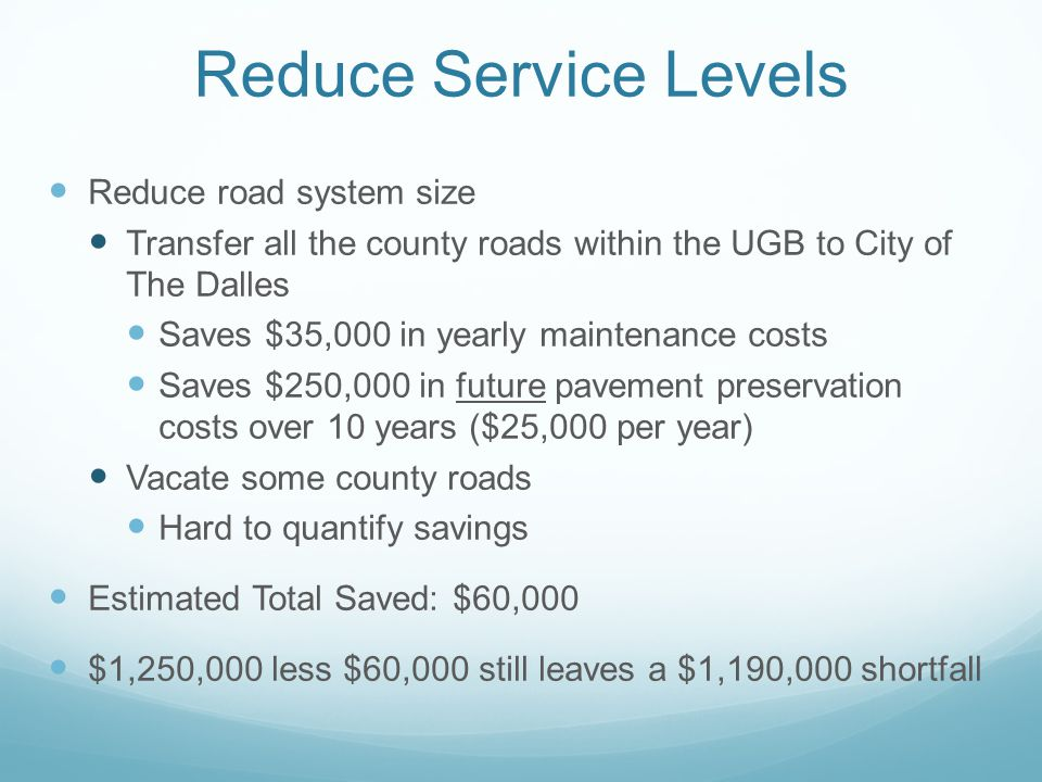 Reduce Service Levels Reduce road system size Transfer all the county roads within the UGB to City of The Dalles Saves $35,000 in yearly maintenance costs Saves $250,000 in future pavement preservation costs over 10 years ($25,000 per year) Vacate some county roads Hard to quantify savings Estimated Total Saved: $60,000 $1,250,000 less $60,000 still leaves a $1,190,000 shortfall
