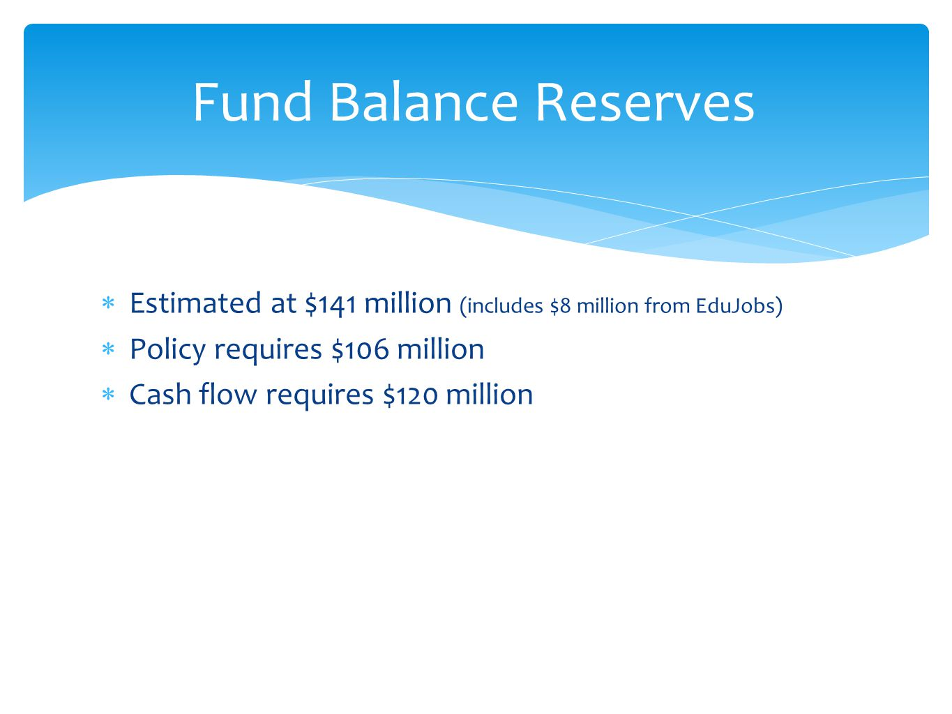  Estimated at $141 million (includes $8 million from EduJobs)  Policy requires $106 million  Cash flow requires $120 million Fund Balance Reserves