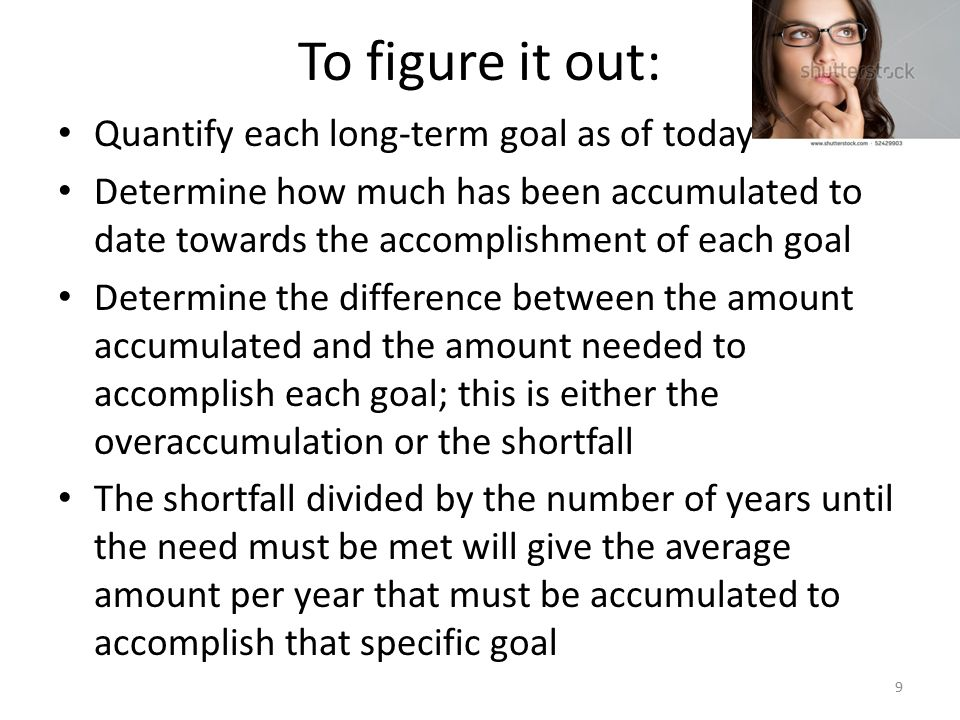 To figure it out: Quantify each long-term goal as of today Determine how much has been accumulated to date towards the accomplishment of each goal Determine the difference between the amount accumulated and the amount needed to accomplish each goal; this is either the overaccumulation or the shortfall The shortfall divided by the number of years until the need must be met will give the average amount per year that must be accumulated to accomplish that specific goal 9