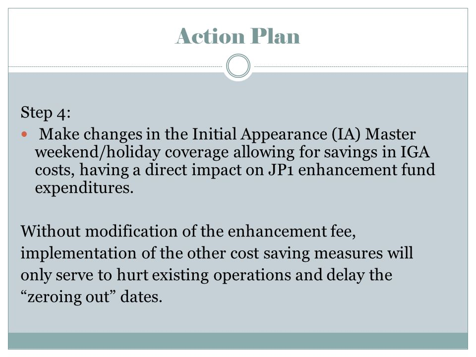 Action Plan Step 4: Make changes in the Initial Appearance (IA) Master weekend/holiday coverage allowing for savings in IGA costs, having a direct impact on JP1 enhancement fund expenditures.