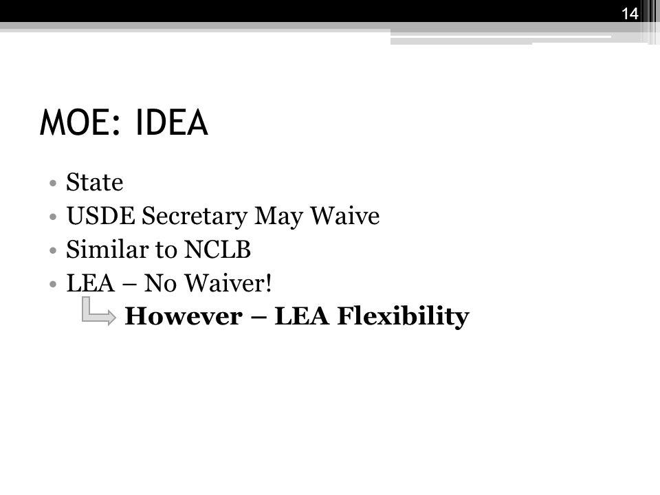MOE: IDEA State USDE Secretary May Waive Similar to NCLB LEA – No Waiver.