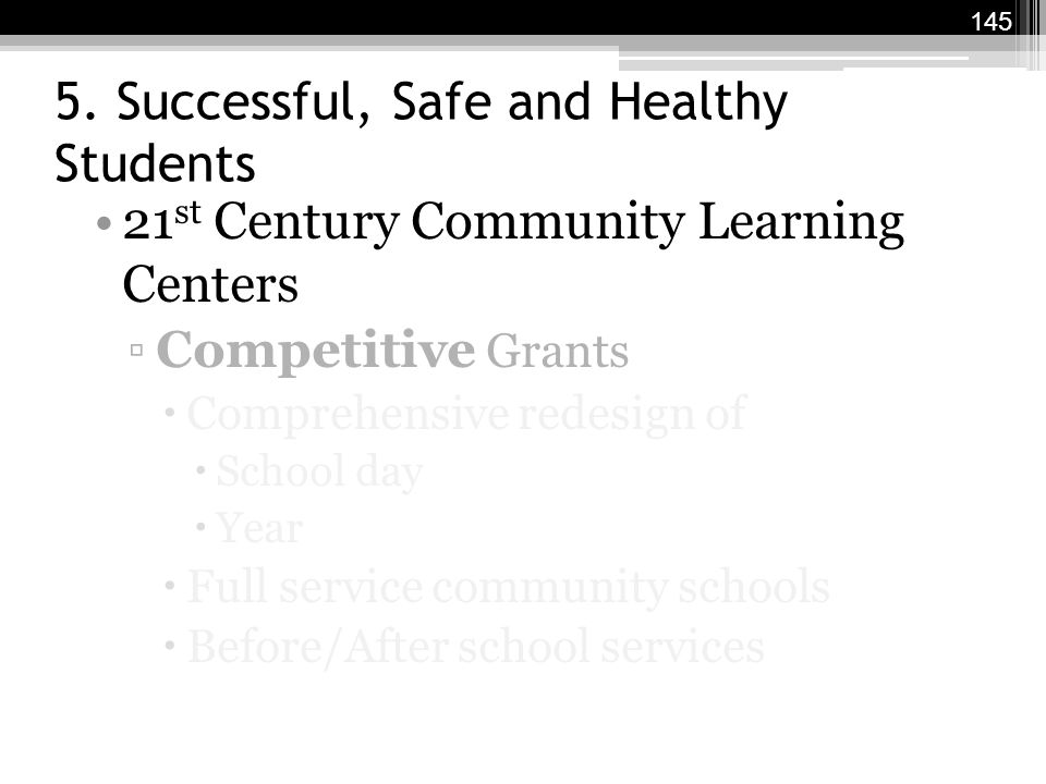 5. Successful, Safe and Healthy Students 21 st Century Community Learning Centers ▫Competitive Grants  Comprehensive redesign of  School day  Year