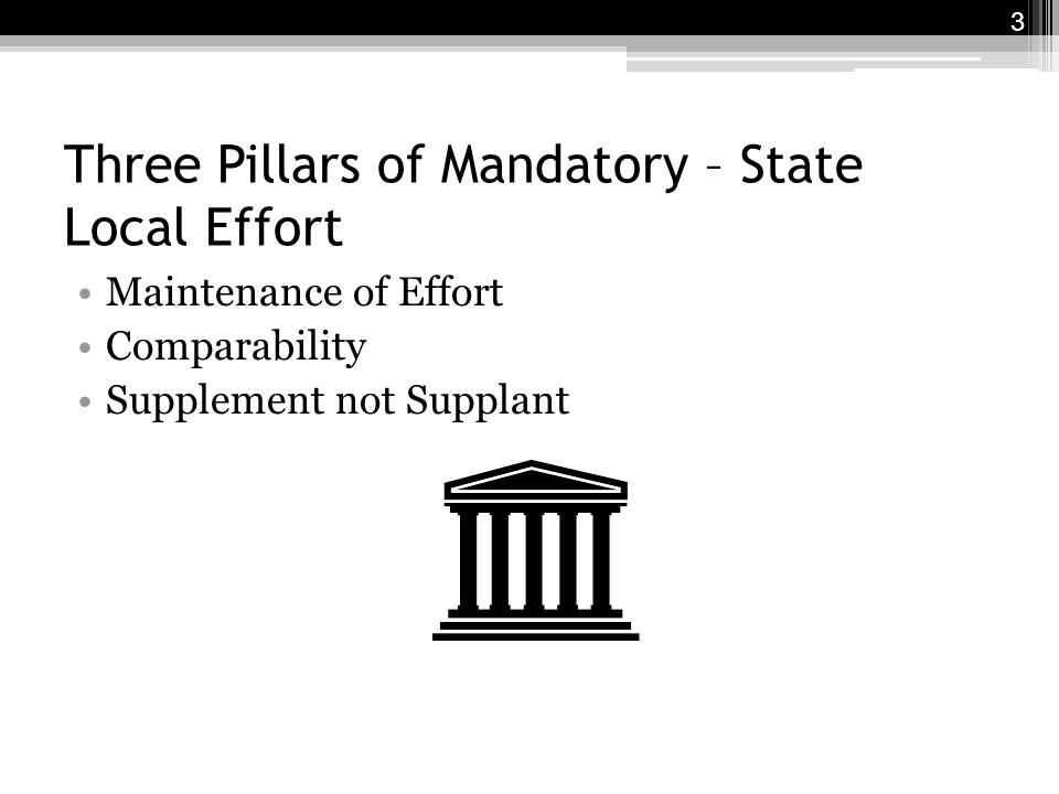 Three Pillars of Mandatory – State Local Effort Maintenance of Effort Comparability Supplement not Supplant 3