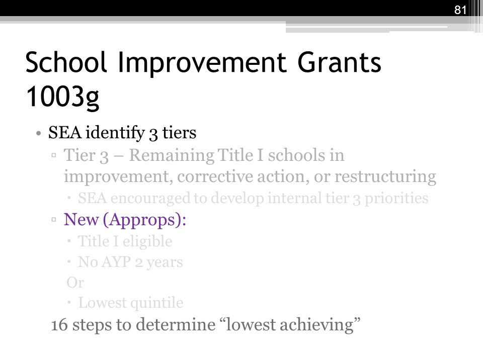 School Improvement Grants 1003g SEA identify 3 tiers ▫Tier 3 – Remaining Title I schools in improvement, corrective action, or restructuring  SEA encouraged to develop internal tier 3 priorities ▫New (Approps):  Title I eligible  No AYP 2 years Or  Lowest quintile 16 steps to determine lowest achieving 81