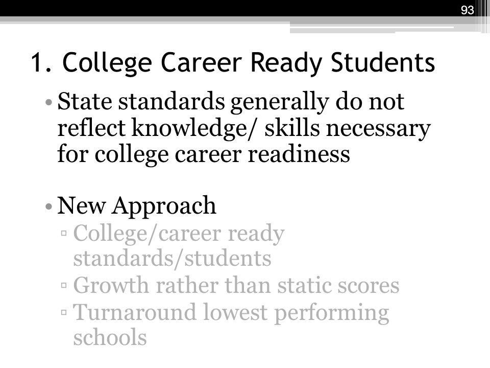 1. College Career Ready Students State standards generally do not reflect knowledge/ skills necessary for college career readiness New Approach ▫Colle