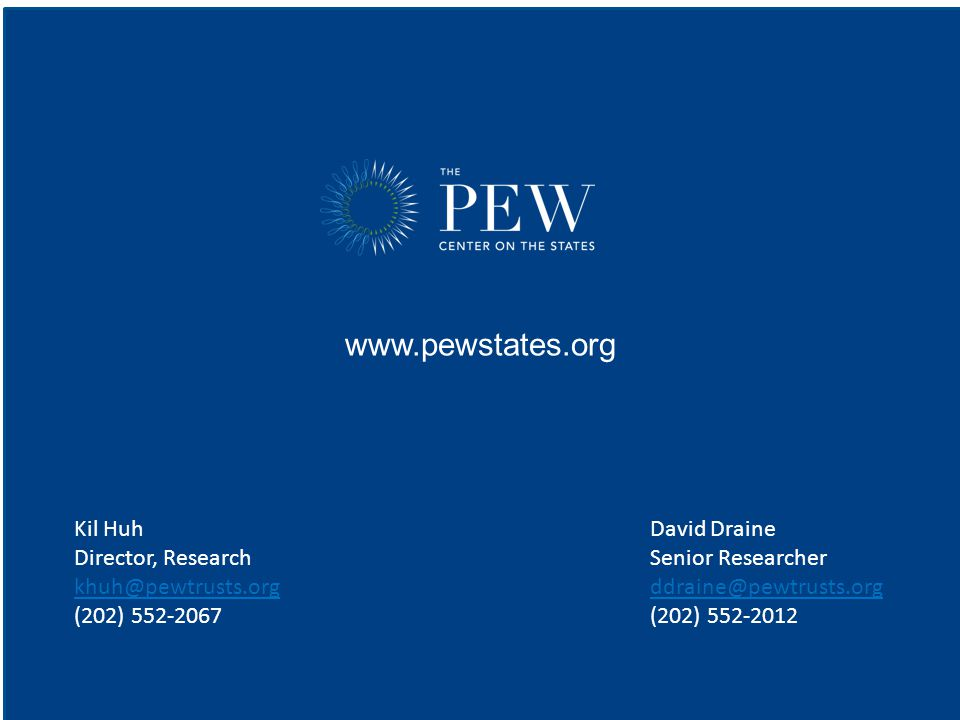 www.pewstates.org Kil HuhDavid Draine Director, ResearchSenior Researcher khuh@pewtrusts.orgddraine@pewtrusts.org khuh@pewtrusts.orgddraine@pewtrusts.org (202) 552-2067(202) 552-2012