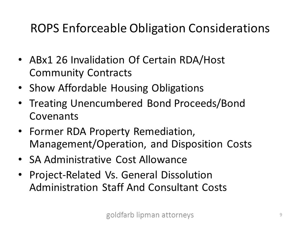 ROPS Enforceable Obligation Considerations ABx1 26 Invalidation Of Certain RDA/Host Community Contracts Show Affordable Housing Obligations Treating U