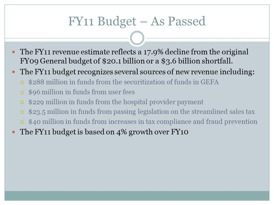 FY11 Budget – As Passed The FY11 revenue estimate reflects a 17.9% decline from the original FY09 General budget of $20.1 billion or a $3.6 billion shortfall.