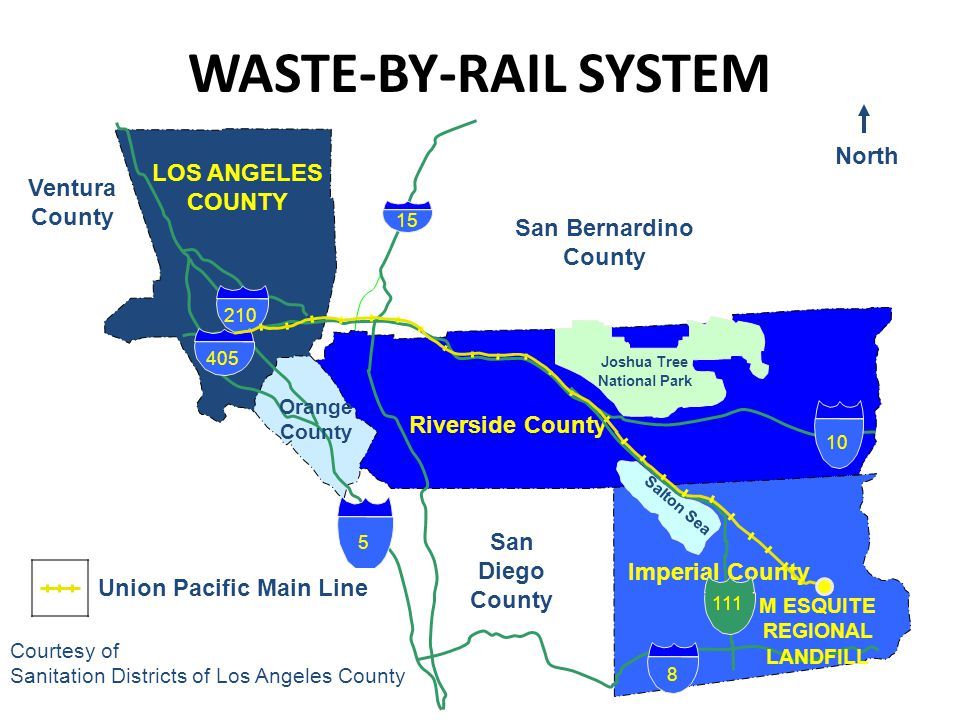 WASTE-BY-RAIL SYSTEM LOS ANGELES COUNTY North Riverside County Orange County Ventura County San Diego County M ESQUITE REGIONAL LANDFILL Salton Sea 8