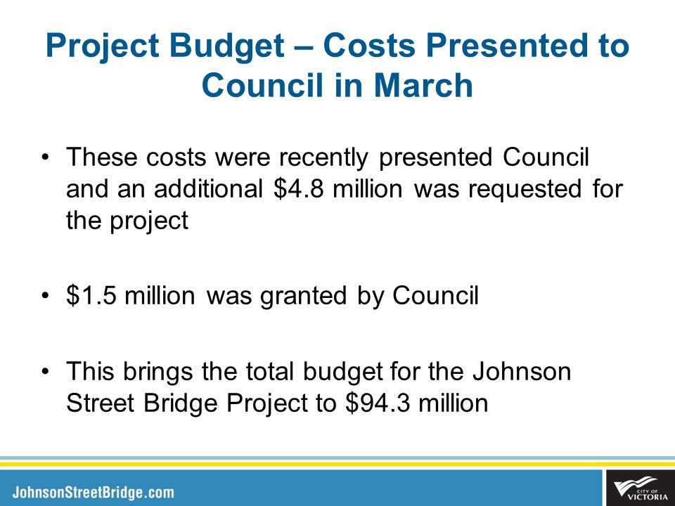 Project Budget – Costs Presented to Council in March These costs were recently presented Council and an additional $4.8 million was requested for the project $1.5 million was granted by Council This brings the total budget for the Johnson Street Bridge Project to $94.3 million