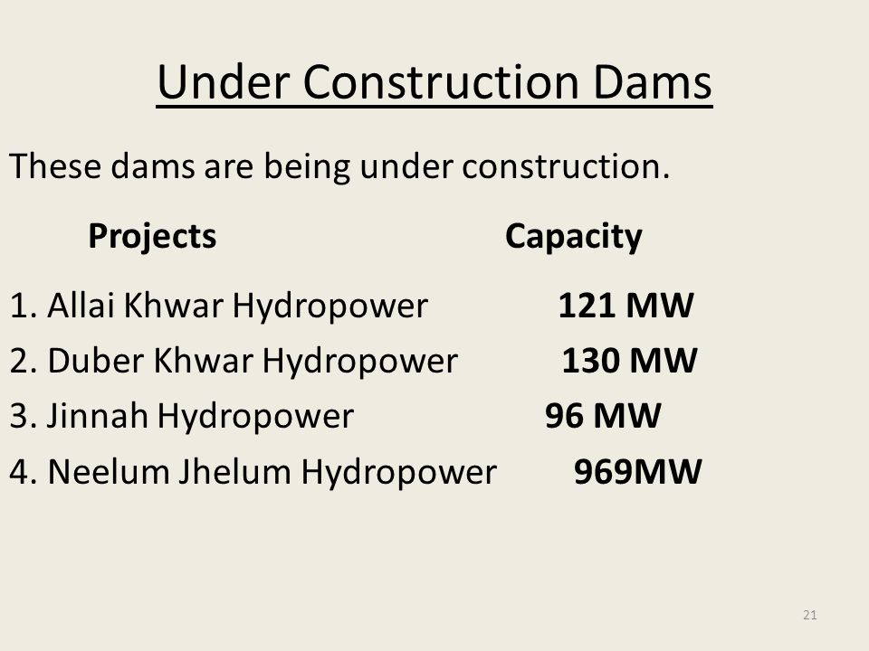21 Under Construction Dams These dams are being under construction. Projects Capacity 1. Allai Khwar Hydropower 121 MW 2. Duber Khwar Hydropower 130 M