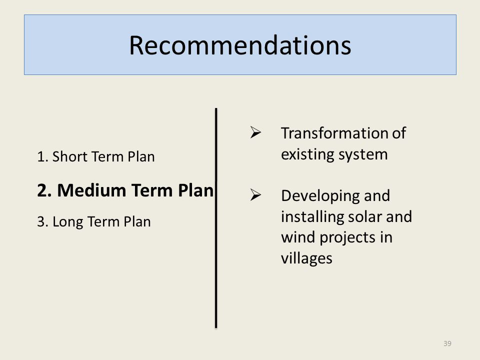 Recommendations 1. Short Term Plan 2. Medium Term Plan 3. Long Term Plan  Transformation of existing system  Developing and installing solar and win