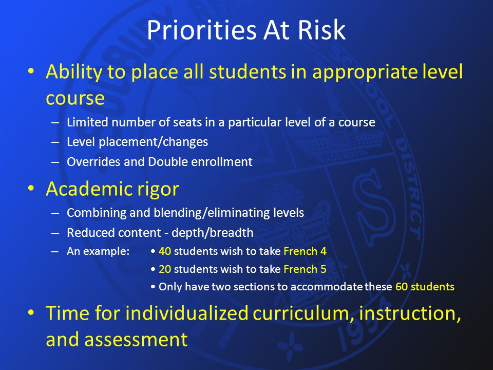 Priorities At Risk Ability to place all students in appropriate level course – Limited number of seats in a particular level of a course – Level place