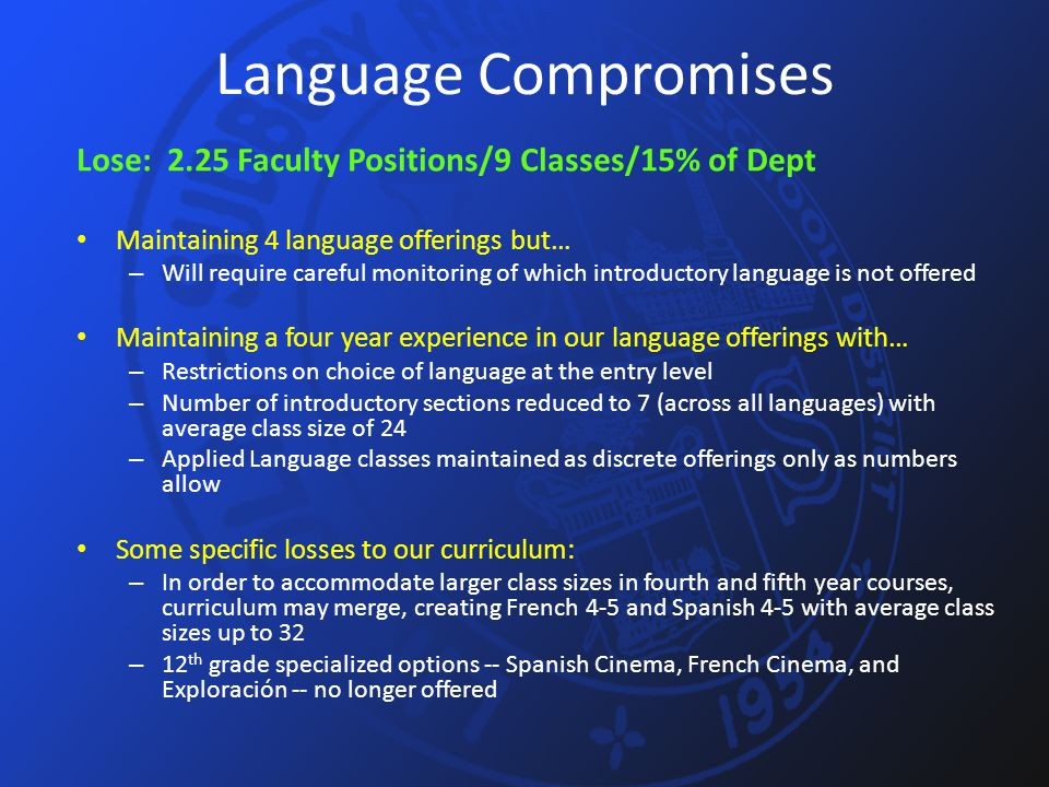 Language Compromises Lose: 2.25 Faculty Positions/9 Classes/15% of Dept Maintaining 4 language offerings but… – Will require careful monitoring of whi
