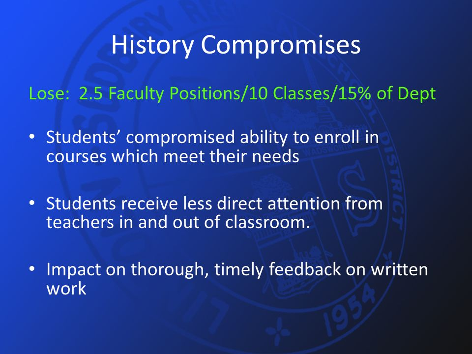 History Compromises Lose: 2.5 Faculty Positions/10 Classes/15% of Dept Students' compromised ability to enroll in courses which meet their needs Students receive less direct attention from teachers in and out of classroom.