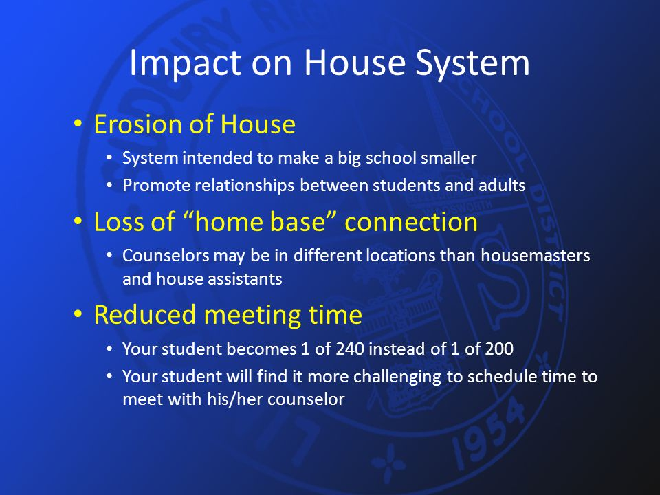 Impact on House System Erosion of House System intended to make a big school smaller Promote relationships between students and adults Loss of home base connection Counselors may be in different locations than housemasters and house assistants Reduced meeting time Your student becomes 1 of 240 instead of 1 of 200 Your student will find it more challenging to schedule time to meet with his/her counselor