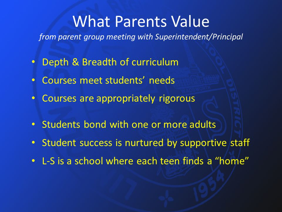 What Parents Value from parent group meeting with Superintendent/Principal Depth & Breadth of curriculum Courses meet students' needs Courses are appr